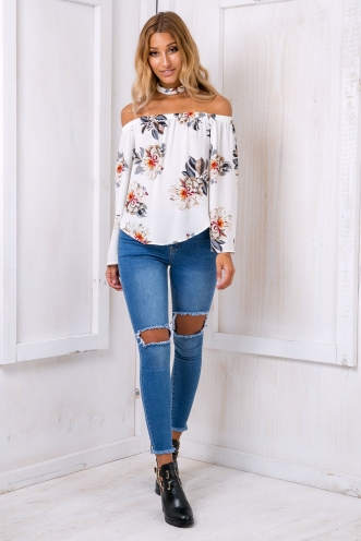Nova off the shoulder top - White floral