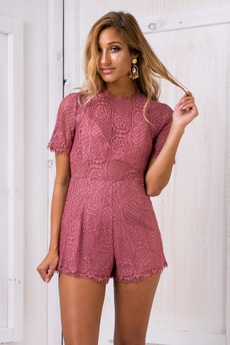 Ashlyn lace playsuit - Dusty pink