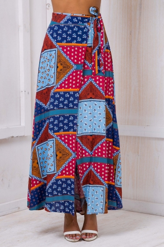 Egypt Nights Maxi Skirt - Dark Navy/Maroon