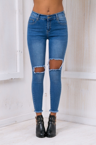 Quin Skinny leg ripped jeans- Mid Blue