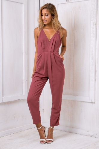Aisha jumpsuit - Rich Purple/Brown