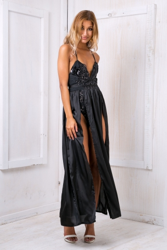 Lexi Satin evening dress - Black