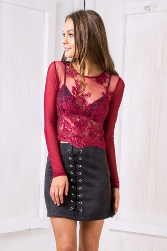 Lost lace crop top - Maroon