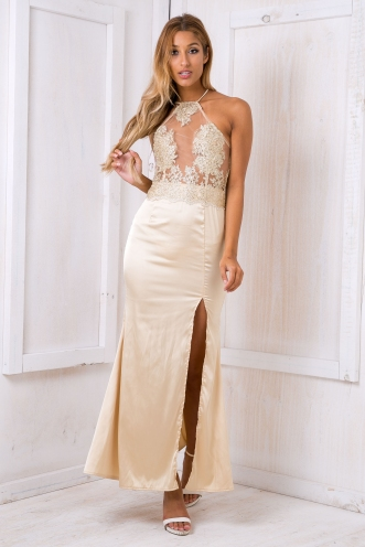 Cassidy lace evening dress - Gold SALE