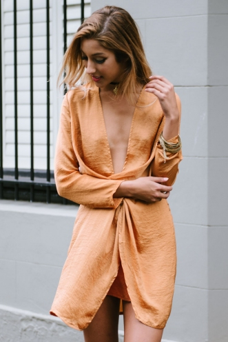 Maya drape dress - Orange