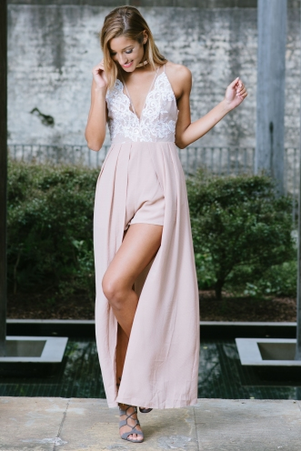 Belle lace maxi playsuit - Beige