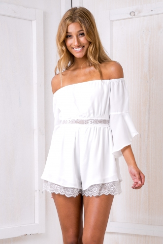 Olive lace trim playsuit -White-SALE