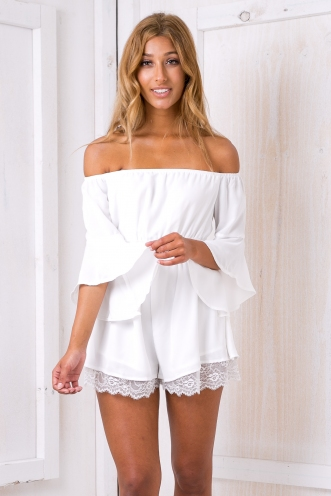 Olive lace trim playsuit -White