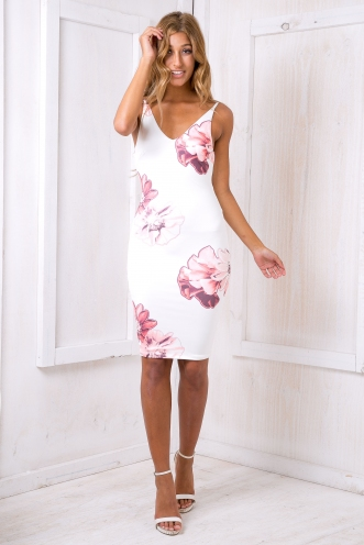 Autumn leaves dress- White/Pink Floral SALE