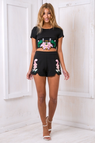 Melany embroidered crop top - Black