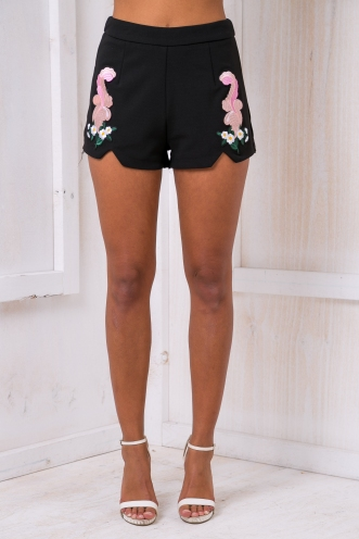 Melany embroidered Shorts - Black