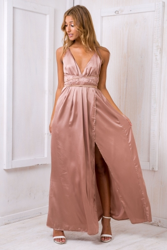 Agnes satin maxi dress - Mocha Beige