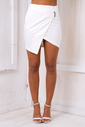 Leighton angle skirt - White