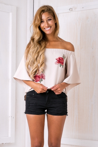 Poppy off the shoulder top- Beige Rose