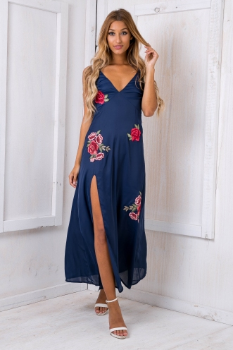 Marika embroidered evening dress - Navy SALE