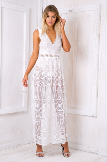When in rome lace dress - White