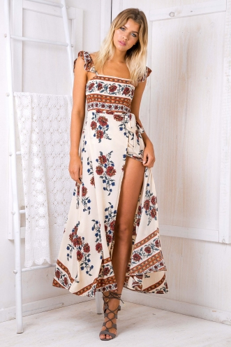 Turkey travels maxi dress - Beige print