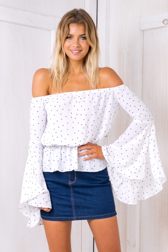 Zoey off the shoulder top - Black/White Spot