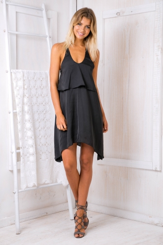 Emily satin dress -Black