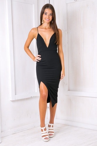 Carolina lace up dress- Black