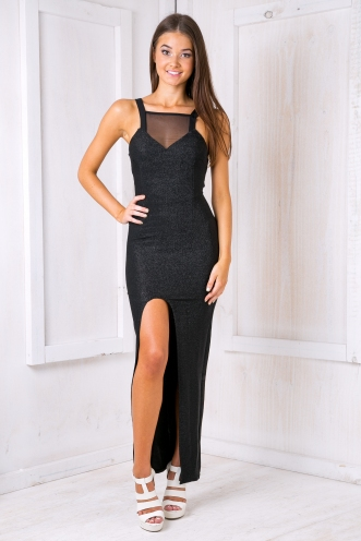 Riri glitter evening dress - Black