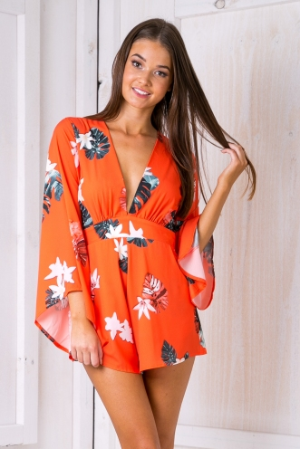 Mariella playsuit - Orange palms-SALE