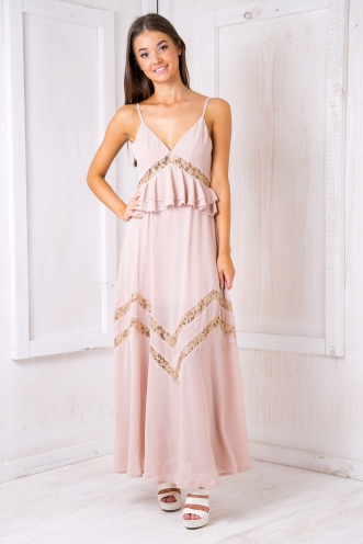 Sweet romance evening dress -Beige