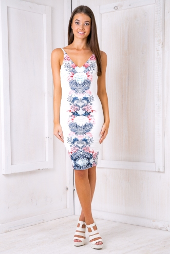 Autumn leaves dress- Navy/Pink mirror print