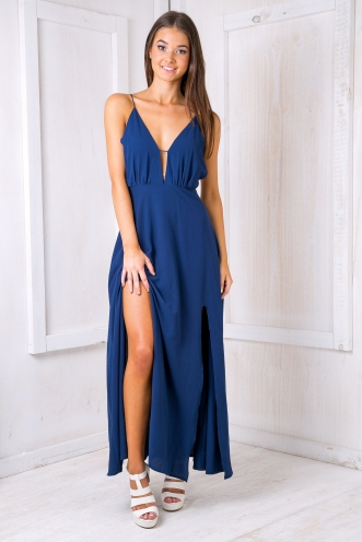 Kira backless maxi dress -Navy blue