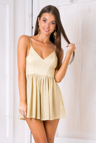Garden fairy playsuit - Gold glitter