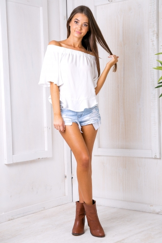 Hilary off the shoulder top - White