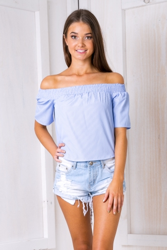 Ally strapless top - Blue stripe