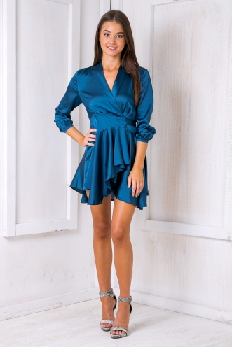 Mia satin kimono dress - Midnight Blue