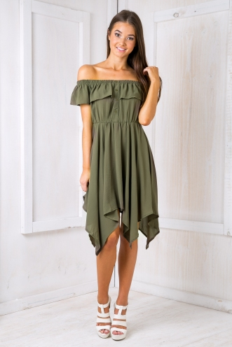 Mel strapless dress - Khaki