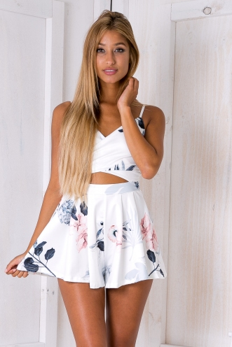 Heartbeat cutout playsuit - Pink/Grey floral