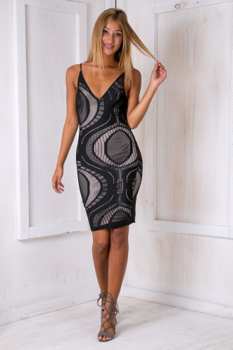 Heidi bodycon dress - Black-SALE