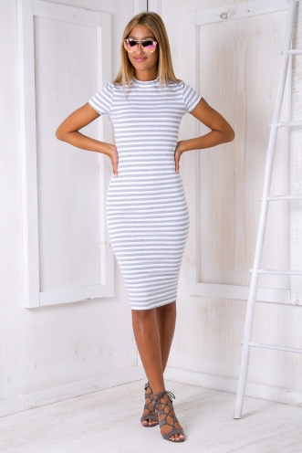Between the lines dress - Grey white stripe