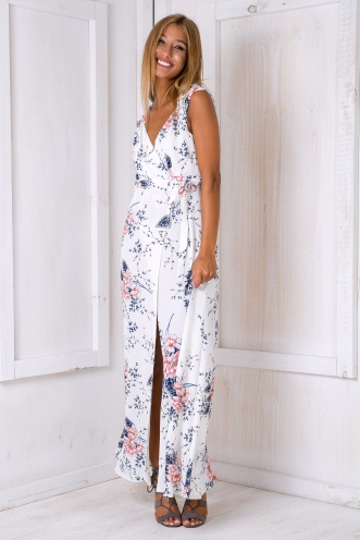 Morning mist maxi dress - White floral