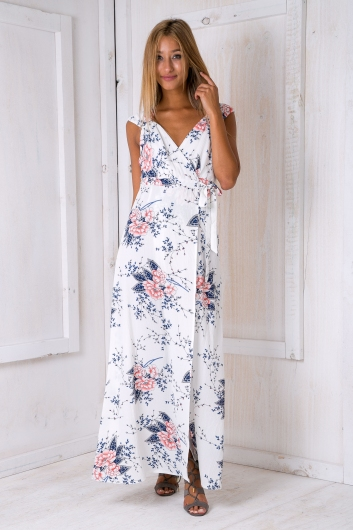 Morning Mist Maxi Dress White Floral Sale Stelly