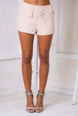 Lace em up shorts - Beige
