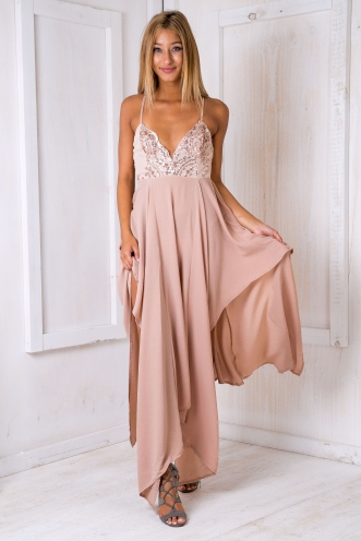 XOXO evening dress -Beige