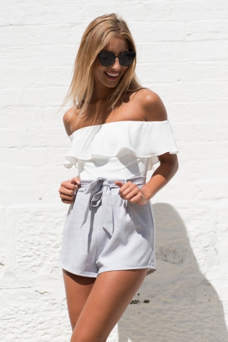 Katie playsuit - White/Grey
