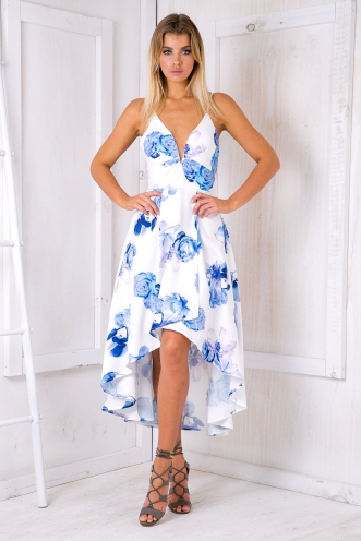 Cocktail hour evening dress - Blue/White flowers