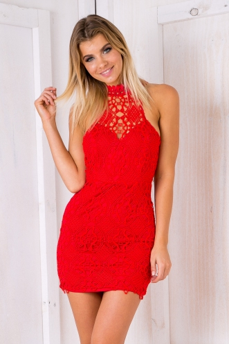 Jennifer lace bodycon dress - Red
