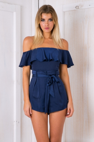 Katie satin playsuit -Navy