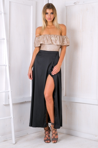 Bailey satin maxi skirt - Black SALE