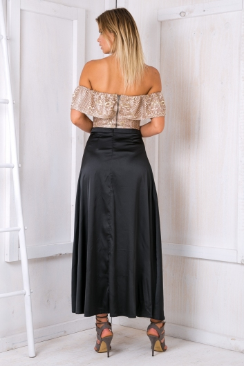 Bailey satin maxi skirt - Black