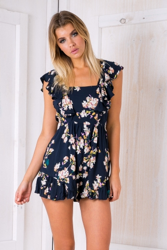 Jasmine playsuit - Navy floral-SALE