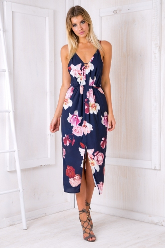 Shannon maxi dress - Navy/ Pink floral