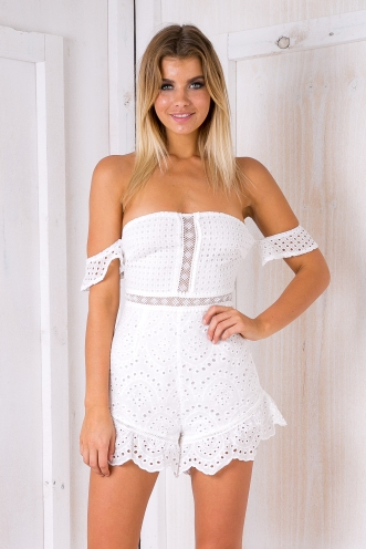 Anja brocade lace playsuit - White